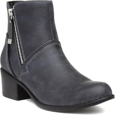 Lilley Womens Grey Zip Up Heeled Ankle Boot