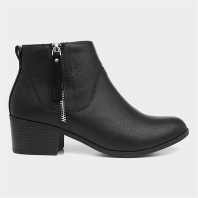 Lilley Womens Black Ankle Boot with Zip Trim