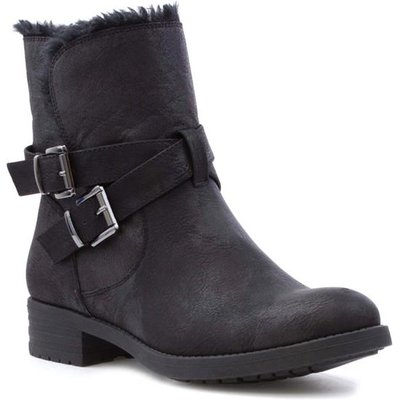 Lilley Womens Black Double Buckle Faux Fur Boot