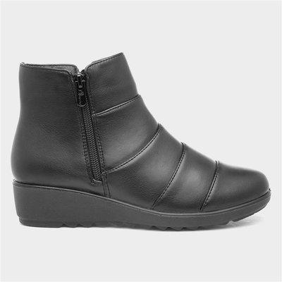 Softlites Womens Black Textured Wedge Ankle Boot