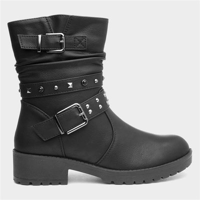 Lilley Womens Stud Ankle Boot in Black