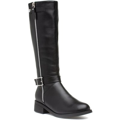 Lilley Womens Black Riding Boot with Silver Zip