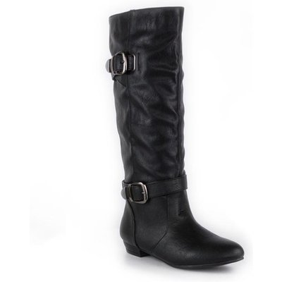Lilley Womens Pull On Buckle Black Knee High Boot