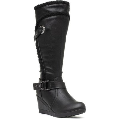 Lilley Womens Black Wedge Boot with Buckle