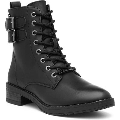 Xti Womens Black Lace Up Heeled Ankle Boot