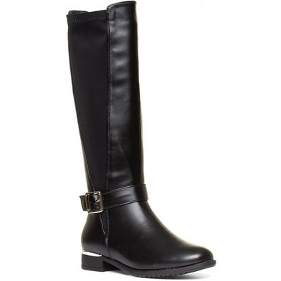 Lilley Womens Black Riding Boot with Buckle