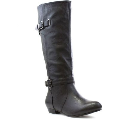 Lilley Womens Black Pull On Buckle Knee High Boot