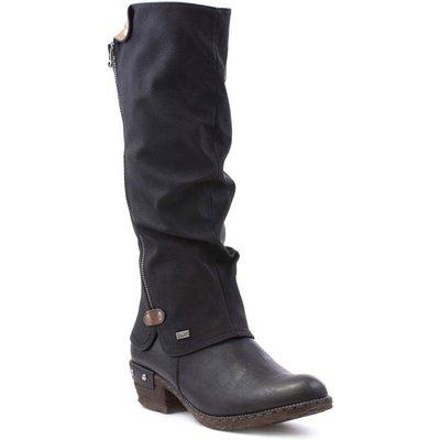 Rieker Womens Black Low Heel High Leg Boot