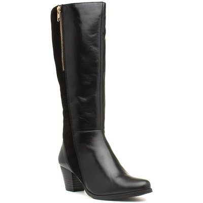 Comfort Plus Becky Black Leather Wide Fit Boot