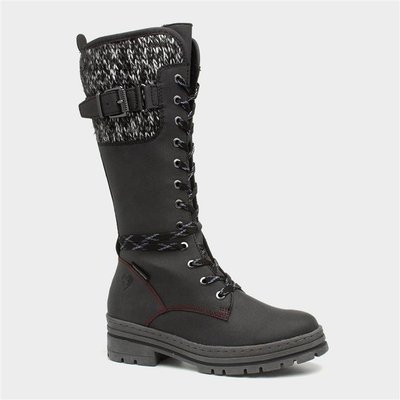 Marco Tozzi Womens Black Lace Up Calf Boot