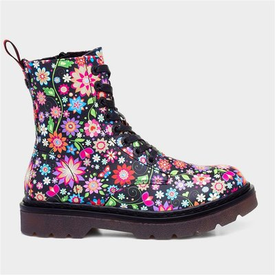 Heavenly Feet Justina Womens Floral Lace Up Boot