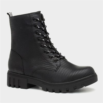 Sprox Womens Black Reptile Chunky Ankle Boot