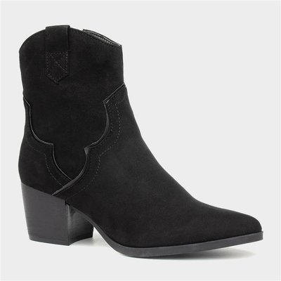 Sprox Womens Black Cowboy Heeled Ankle Boot