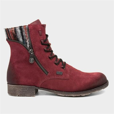 Rieker Womens 70840-35 Red Suede Ankle Boot