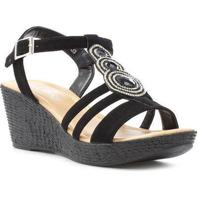 Lilley Womens Black Disc Diamante Wedge Sandal
