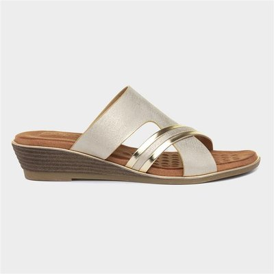 Lunar Penny Womens Beige And Gold Mule Sandal