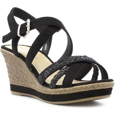 Lilley Womens Black Cross Strap Wedge Sandal