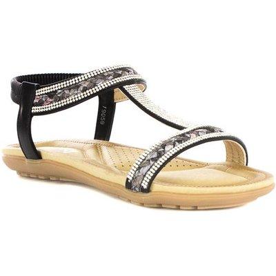 Lilley Womens Black Diamante Flat Sandal