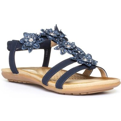 Lilley Womens Navy Slip On Floral Flat Sandal