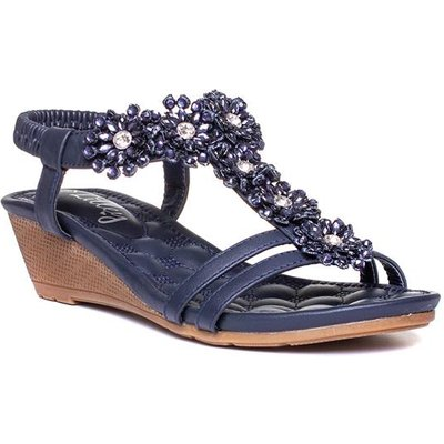 Lilley Womens Navy Wedge Strappy Sandal