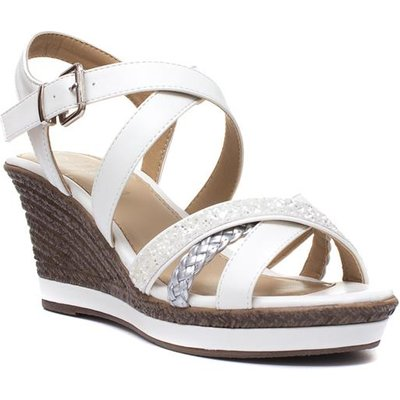 Lilley Womens White Wedge Sandal