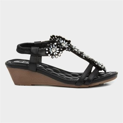 Lilley Womens Black Flower T-Bar Wedge Sandal