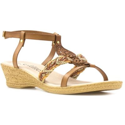 Softlites Womens Tan Laser Cut Wedge Sandal