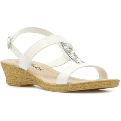 Softlites Womens White T Bar Wedge Sandal