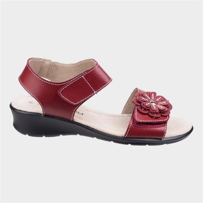 Fleet And Foster Womens Sapphire Red Leather Sandal