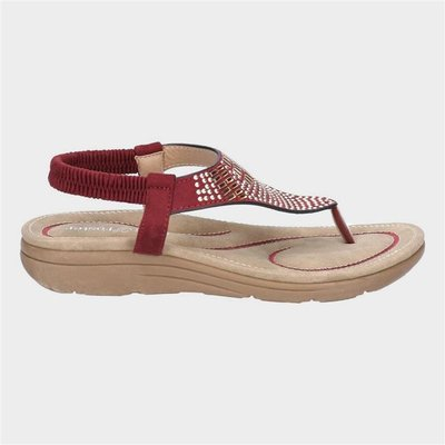 Fleet And Foster Womens Mulberry Red Leather Sandal