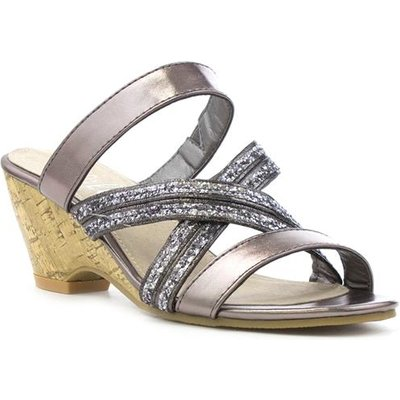 Lilley Womens Pewter Cross Strap Wedge Sandal