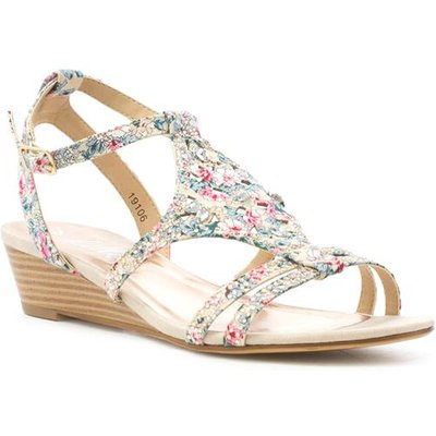 Lilley Womens Multi Coloured Floral Wedge Sandal