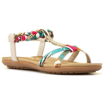 Lilley Womens Multi Coloured T-Bar Flat Sandal
