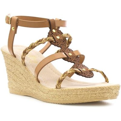Lilley Womens Tan Strappy Wedge Sandal