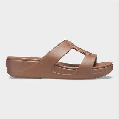 Crocs Womens Monterey Shimmering Sandal in Brown