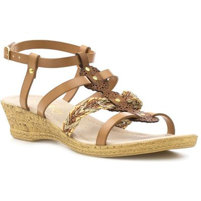 Lilley Womens Strappy Wedge Sandal in Tan
