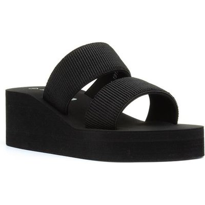 Lilley Womens Black Slip On Wedge Sandal