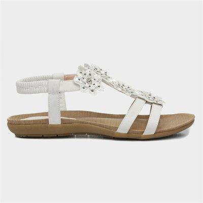 Lilley Womens White Flower Crochet Flat Sandal