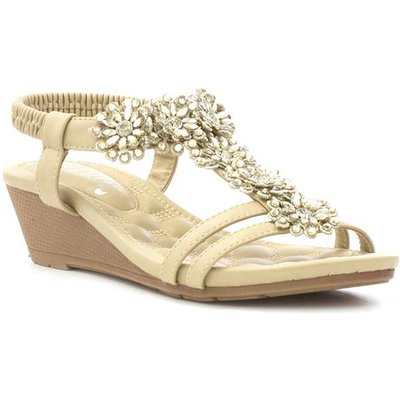 Lilley Womens Beige Flower T-Bar Wedge Sandal