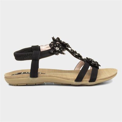 Lilley Womens Black Flower Crochet Flat Sandal