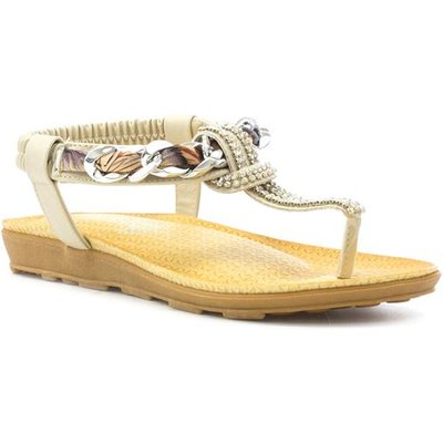 Lilley Womens Beige Toe Post Sandal with Chain