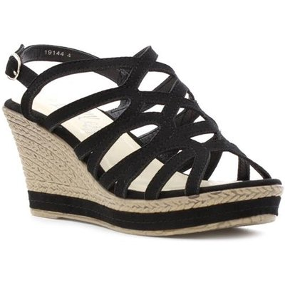 Lilley Womens Strappy High Wedge Sandal in Black