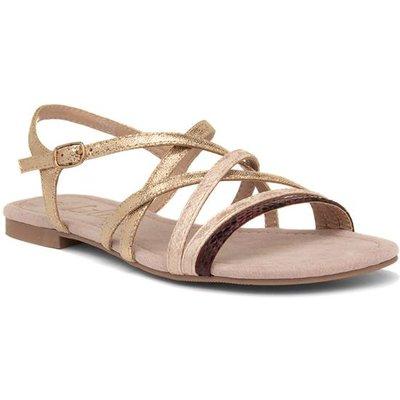 Lilley Womens Gold Flat Slingback Sandal