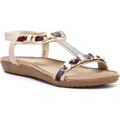 Lilley Womens Nude Chain Flat Sandal