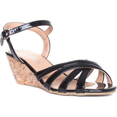 Lilley Womens Strappy Wedge Sandal in Black
