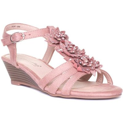 Comfort Plus Womens Pink Floral Wedge Sandal