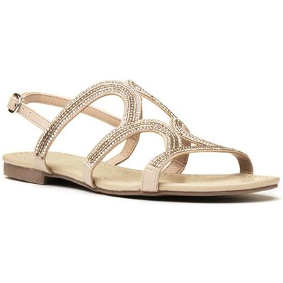 Lilley Womens Rose Gold Diamante Strappy Sandal