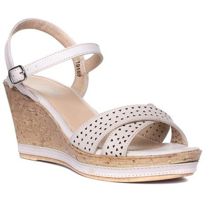 Lilley Womens Beige Wedge Sandal