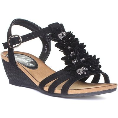 Lilley Womens Black Flower Wedge Sandal