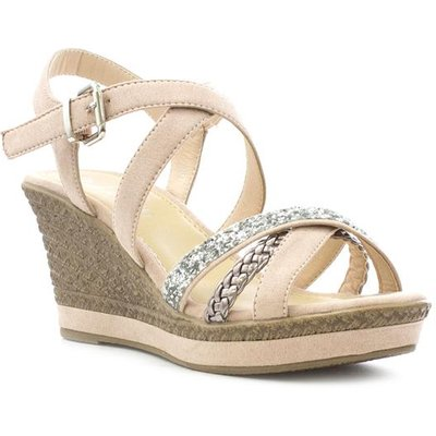 Lilley Womens Nude Cross Strap Wedge Sandal